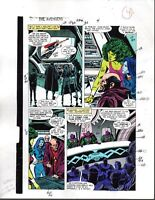 1988 Buscema Avengers 296 Marvel original color guide art page 4: She-Hulk/Thor