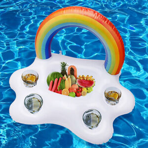 Pool Float Beer Table Drinking Cooler Table Bar Tray Rainbow Cloud Cup Holder F~