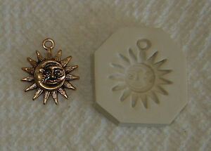 Sun & Moon Face Hard Polymer Clay Push Mold Pendant Charn 0 Ship after 1st item