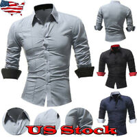 Classic Men Long Sleeve Shirt Casual Slim Fit Stylish Dress Shirts Business Tops
