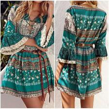 AU Women Summer V Neck Lace Up Long Sleeve Boho Beach Floral Mini Sundress Dress