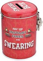 Swearing Novelty Fine Tin Fun Money Storage Lockable Piggy bank Savings Jar Gift