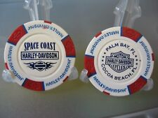 2 Harley Davidson Poker Chips Space Coast Palm Bay Cocoa Beach Florida / R-W & B