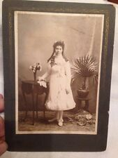 Antique Cabinet Photograph Of Young Lady White Lawn Dress Long Ringlets Detroit