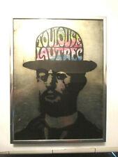 """vintage original -""""Toulouse Lautrec"""" portrait reverse glass painting -signed dee"""