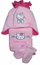 Hello Kitty Hat Scarf and Gloves Set Pretty Pink Fleece 2-4 years