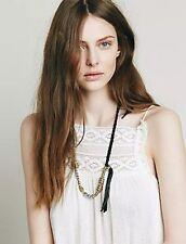 NEW Free People Sun & Glory Black Leather & Brass Braided Necklace Jewelry $78