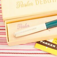 VINTAGE PARKER 41 FISH-SCALE GOLD-WEB FOUNTAIN PEN PENCIL BOX-SET NEW OLD STOCK