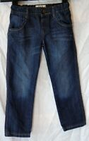 Boys M&S Blue Whiskered Denim Adjustable Waist Regular Fit Jeans Age 4-5 Years