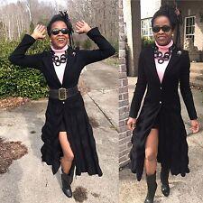 Mint Designer Just Cavalli Full length ruffled Black wool blend Coat S 0-4 40