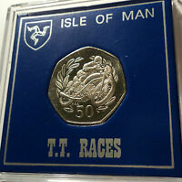 1999 Isle of Man TT Tourist Trophy Motorbike Race 50p Coin (BU) in Gift Case