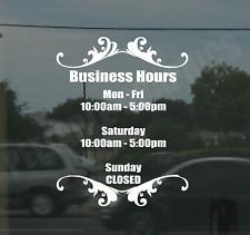 Business Custom Window Door Glass Store Hours Vinyl Decal Sign Sticker Style 3
