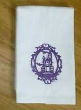 Embroidered HAUNTED HOUSE White fingertip towel Kitchen or Bathroom Halloween