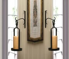 2 Contemporary Black Wall Sconces Clear Hurricane Pillar Candle Holders