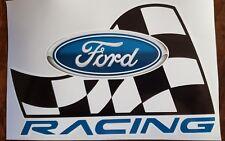 FORD RACING WINDOW DECAL STICKER MOTORSPORT DRAG NASCAR CHECKER FLAG BLUE OVAL