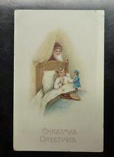 {BJ STAMPS}  VINTAGE Christmas Greetings Postcard Santa Young Girl with Doll
