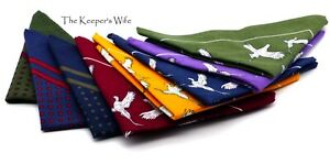 New Large Cotton Square Handkerchiefs Hankies - Pheasant/Spot - Neckerchief Gift