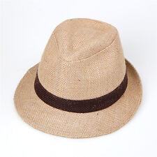 "Men Women Summer Beach Fedora Hat For Unisex w/Linen ""Made Korea"" Beige Color 1"
