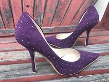 *PuRpLe FAUX sUeDe NEW 7 SilveR STUD Pointy Toe CARRIE Stiletto Heels PUMP GuESS