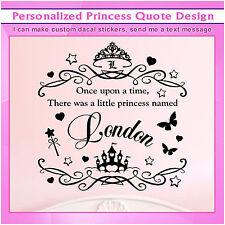 Personalized Custom Girl Little Princess Vinyl Wall Art Sticker Decal Kids S073