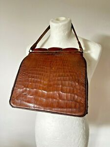 Vintage 1930s 1940s Art Deco Crocodile Handbag Bag