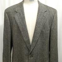 BROOKS BROTHERS Gray Black Herringbone Wool Tweed Blazer Sport Coat Jacket 46 L