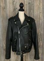 Highway One~Leather Jacket Women's Large~ Bomber~Moto~Biker~Off Center Zipper