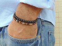 Beaded Stretchy Bracelets Set Men Women Onyx Tiger Eye 6mm Beads Gift For Mens
