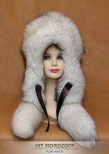 Saga Blue FOX Reversible Double Sided Fur Hat Eskimo Winter Schapka Fellmütze