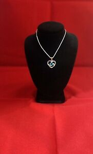 Silver 925 crystal Blue heart pendant with necklace chain 45cm length uk based