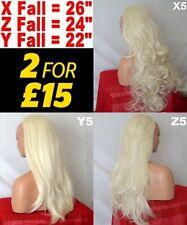 PALE BLONDE Natural Long Curly Wavy Flick Half Wig Womens Hair Piece 3/4 falls
