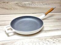 Williams Sonoma Skillet Pan Cast Enameled Wooden Handle White Enamel Excellent
