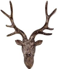 Deer Stag Head Wall Sculpture Hanging Ornament Bronze Antique Style Statue 42cm