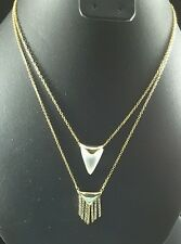 ALEXIS BITTAR MISS HAVISHAM DOUBLE NECKLACE WITH FRINGES & LUCITE SHIELD, NWT