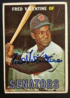 Fred Valentine Senators signed 1967 Topps baseball card #64 Auto Autograph