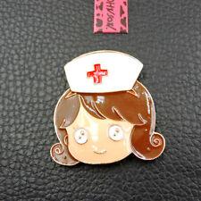 Fashion Woman's Enamel Brown Hair Nurse Betsey Johnson Charm Brooch Pin