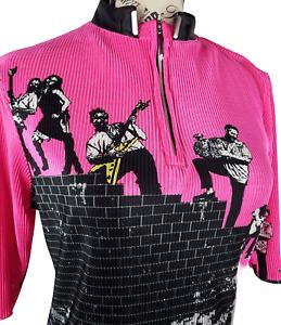 Jamie Sadock Hot Pink Golf Rock And Roll Mock Zip Up Golf Shirt Women Size S
