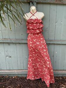 1960's 1970's Retro Vintage Mia Bugeja Floral Hawaii Maxi Dress Size 6-8