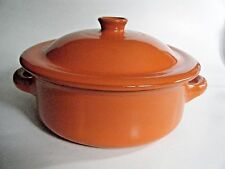 Coop. Stov-Albisola Orange Art Pottery Two Handled Covered Casserole CM 22