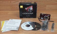 Originale Nikon Coolpix (L22) 12 Mp Rosso Compatto Videocamera con 7.6cm LCD &