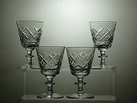 STUNNING CUT GLASS CRYSTAL SMALL WINE SHERRY PORT GLASSES SET OF 4