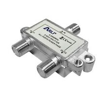 Satellite 2 Way F Type 5-2400 Mhz Splitter Coax Co axial Ariel Tv Freesat