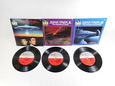 "STAR TREK MOTION PICTURE I II & III READ-ALONG BOOK & 7"" RECORD LOT KHAN SPOCK"