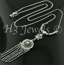 7.00 grams 18k solid white gold lariat wheat necklace 17 inches foxtail dangling