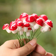 10pcs Mini Red Mushroom for Plant Pots Fairy Decor DIY Best Garden Decoration