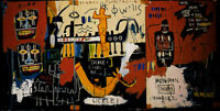 Jean Michel Basquiat Print on Canvas Abstract History Of Black People 24x48""