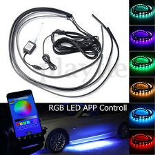 4x 36''+48'' RGB LED Under Car Tube Strip Underglow Body Light Kit App Control