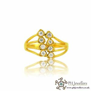 22ct 916 Yellow Gold Hallmark Heart Ring with CZ Stones Size O SR127