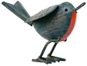 Tin Robin Decorative Garden Outdoor Metal Bird Ornaments 11cmx16cm Christmas New