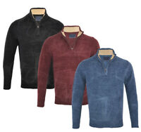 Mens Premium Chenille 1/4 Zip Collared Jumper Knitted Winter Top S-XXL